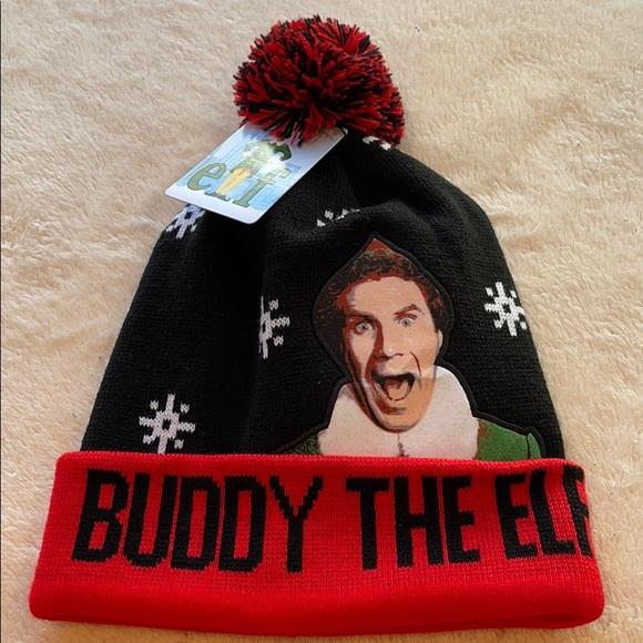 Buddy The Elf Men's Knit Blk/Red Beanie w/Pom Pom